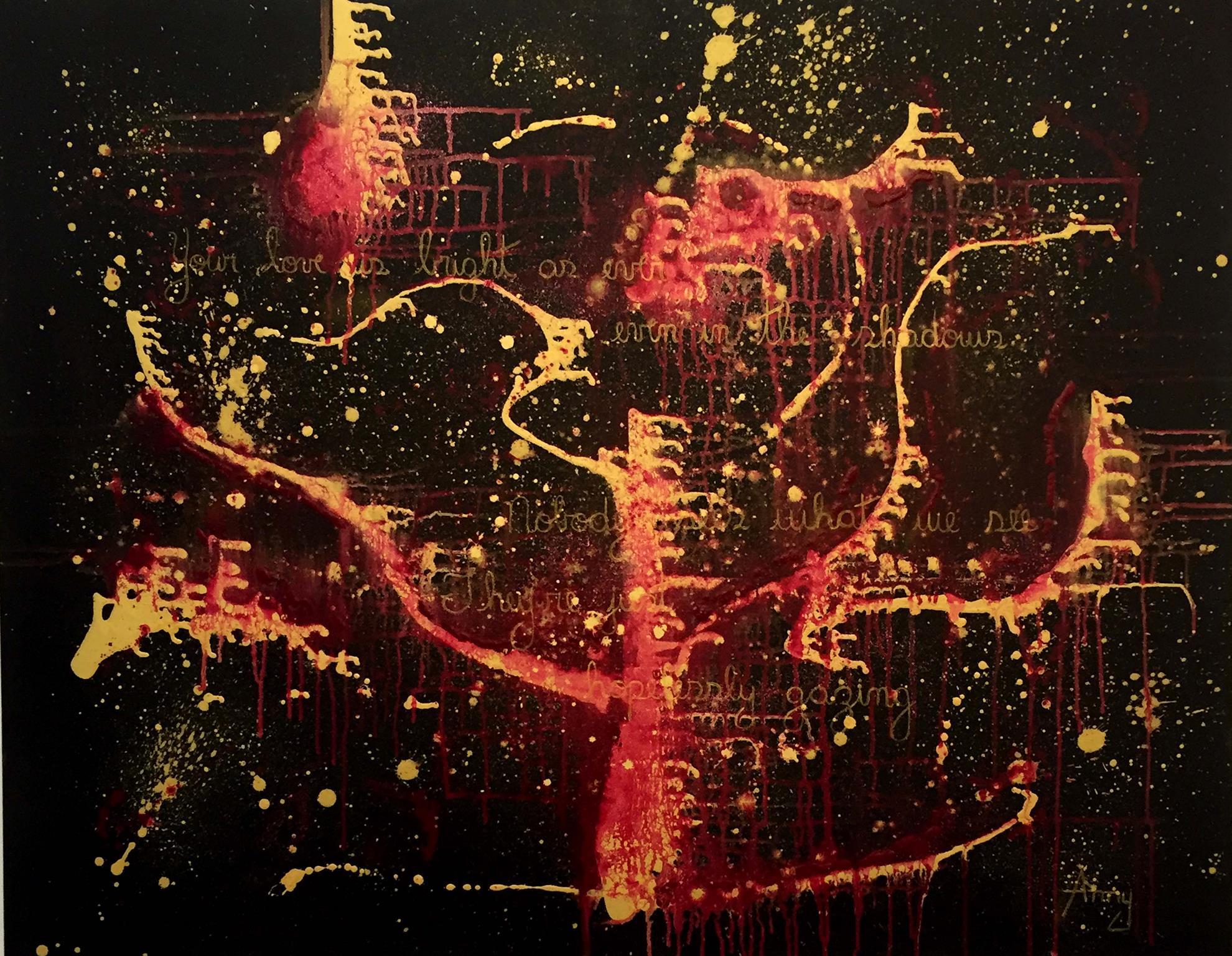 Seu trabalho, inspirado no Expressionismo abstrato, traz trechos de músicas. Foto: Divulgação
