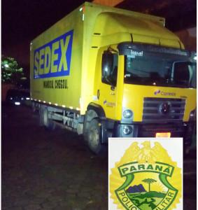 Caminhão dos Correios foi roubado. Foto: Divulgação PM