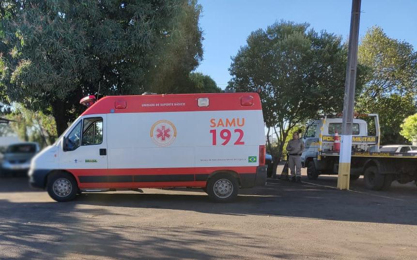 Ambulância do Samu no pátio do Detran. Foto: WhatsApp Paiquerê