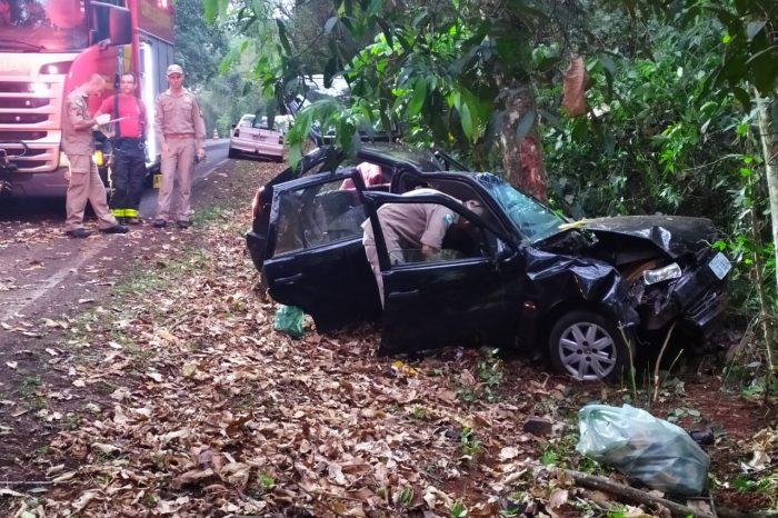 Homem morre ao colidir carro contra árvores próximo à Mata dos Godoy