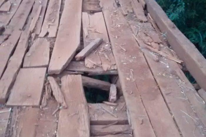 Ouvinte reclama de buraco em ponte no Rio Ipiranga; Veja imagens