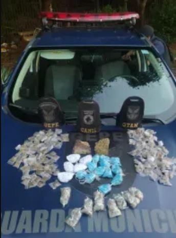 Com ajuda dos cães, GM apreende centenas de porções de crack, cocaína e maconha